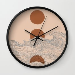 Vintage abstract landscape the great wave ocean sunset moon Wall Clock