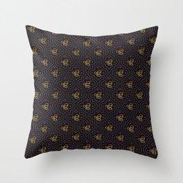 Gold Ek Onkar / Ik Onkar pattern on black Throw Pillow