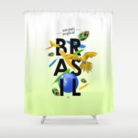 brasil Shower Curtains featuring BRASIL Feather - CAPOEIRA RULES by NELOS Cisneros