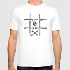 Noughts & Crossbones White SMALL Mens Fitted Tee