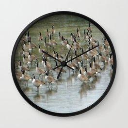 Canada Geese Partial Frozen Lake Wall Clock