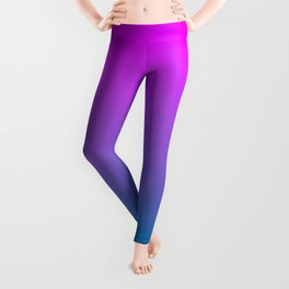 Bright Orchid Pink to Biscayne Bay Blue Ombre Shade Color Fade Leggings