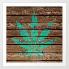 Chipped Paint Cannabis Leaf Art Print