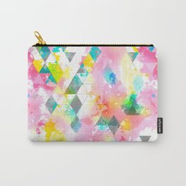 Rainbow Multi Color Triangles Watercolor Carry-All Pouch