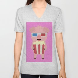 Cinema Pig with Popcorn Unisex V-Neck