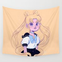 sailor moon Wall Tapestries featuring Sailor Moon by Natali Koromoto