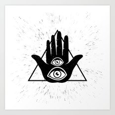 Hand with eye Art Print