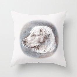 Golden Retriever Dog Drawing Throw Pillow