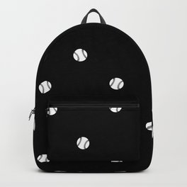 Black and White Baseball Motif Pattern Backpack