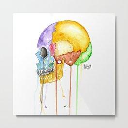 Colorful Human Skull Metal Print