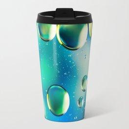 Macro Water Droplets  Aquamarine Soft Green Citron Lemon Yellow and Blue jewel tones Travel Mug