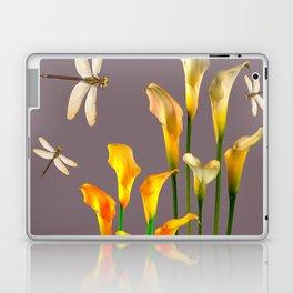 GOLD CALLA LILIES & DRAGONFLIES ON GREY Laptop & iPad Skin