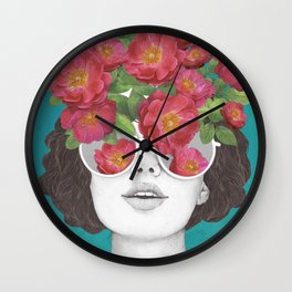 The optimist // rose tinted glasses Wall Clock