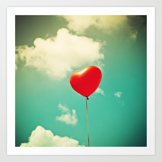 Red Heart Balloon in a Vintage Turquoise Sky  Art Print