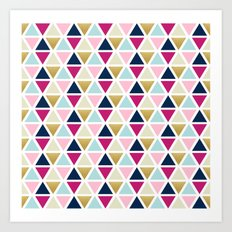 Triangle Geometry, Gold, Navy blue and Pink Art Print