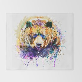Colorful Grizzly Bear Throw Blanket