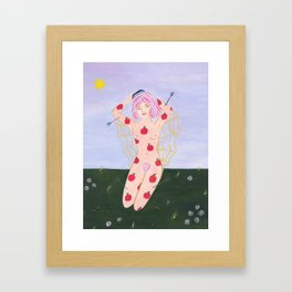 Apple Girl Brushing Her Hair Framed Art Print