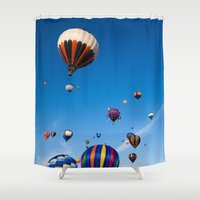hot air balloons Shower Curtains featuring Vibrant Hot Air Balloons by Nicolas Raymond