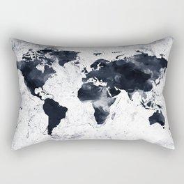 Black Ink World Map Rectangular Pillow