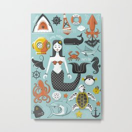 Sea Icons Metal Print
