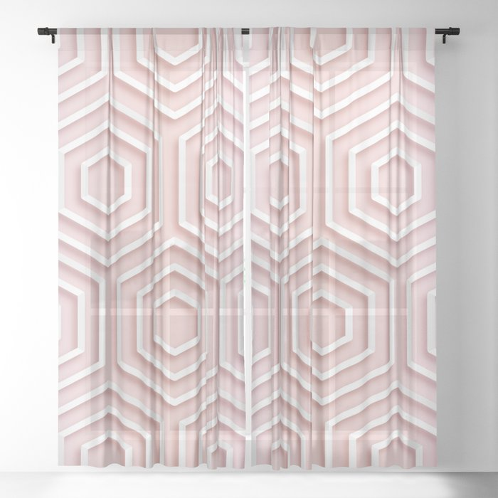 3d Hexagon Gradient Minimal Minimalist Geometric Pastel Soft Graphic Rose Gold Pink Sheer Curtain By Aej Design