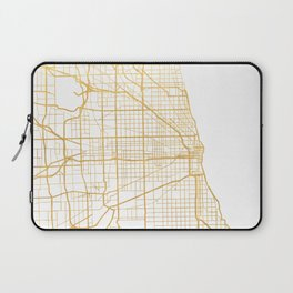 CHICAGO ILLINOIS CITY STREET MAP ART Laptop Sleeve