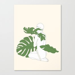 Woman with Monstera Leaves Canvas Print