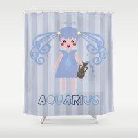 aquarius Shower Curtains featuring Aquarius by Esther Ilustra