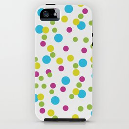 Blue, Pink, and Green Polka dots iPhone Case
