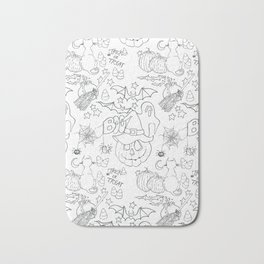 Halloween pattern in black and white Bath Mat