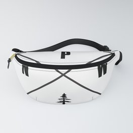 PNW Pacific Northwest Compass - Black on White Minimal Fanny Pack