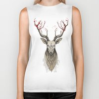 deer Biker Tanks featuring Deer tree by Rafapasta