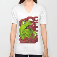 insects V-neck T-shirts featuring Frogs eat Insects by ElenaTerrin