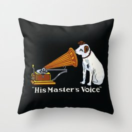Retro his master's voice, Nipper the Dog Throw Pillow