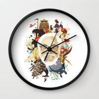 hayao miyazaki Wall Clocks featuring Miyazaki-San by Danny Haas