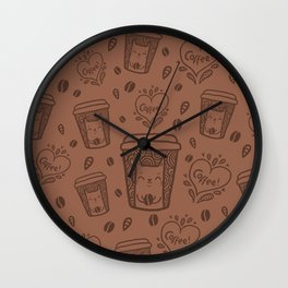 Doodle coffee cat Wall Clock