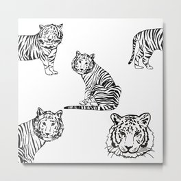 Tigers Print Black and White - Animals - Patterns Metal Print