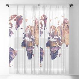 World map Sheer Curtain