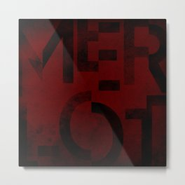 Merlot Wine Typography Metal Print