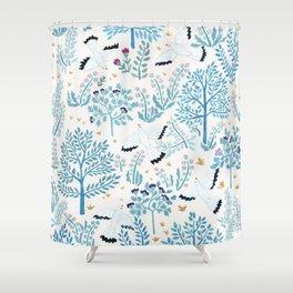 white birds garden Shower Curtain