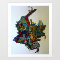colombia Art Prints featuring COLOMBIA by MikAnsart
