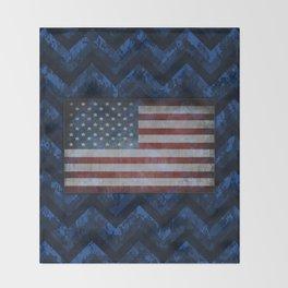 Cobalt Blue Digital Camo Chevrons with American Flag Throw Blanket