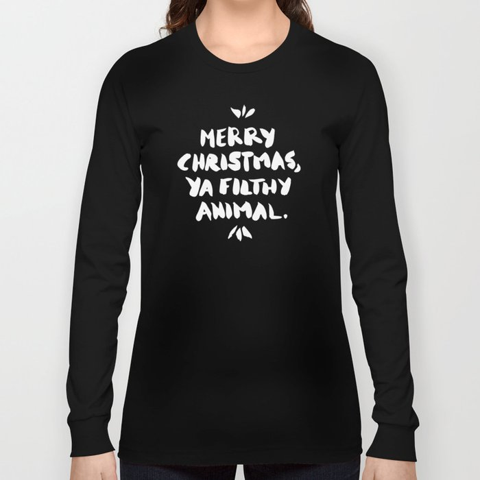 Merry Christmas, Ya Filthy Animal – Red Long Sleeve T-shirt