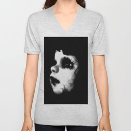 Creepy Doll Face Unisex V-Neck