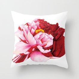 Bi-Color Peony Flower Watercolor Illustration Throw Pillow