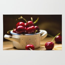 Red Cherries on the table Rug