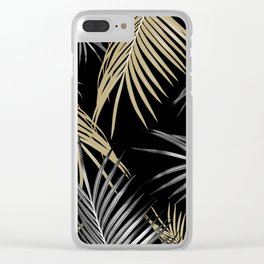 Gold Gray Palm Leaves Dream #1 #tropical #decor #art #society6 Clear iPhone Case