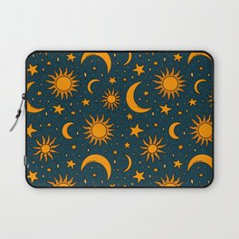 Vintage Sun and Star Print in Navy Laptop Sleeve
