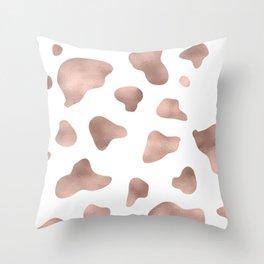 Rose gold cow print Throw Pillow