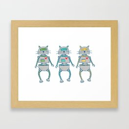 The Cat-Bot Trio Framed Art Print